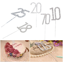 20% discount for 2 pcs!Rhinestone Crystal Cake Pick Topper Birthdays wedding Anniversary celebration Silver Numbers