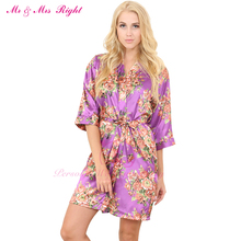 MR & MRS RIGHT Satin Floral Wedding Robe Sexy Bridal Nightgown Bride Kimono Bridesmaid Pajamas Party Gift Silk Robe Bathrobe SD1
