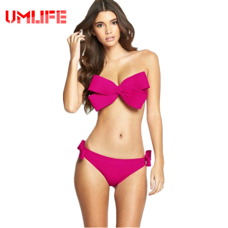 UMLIFE 2017 Micro Bikini Set Solid Swimwear Brazilian Bikini Swimsuit Sexy Big Bow Beach Wear Push Up Bathing Suit Red Swim Wear(China)