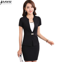 OL professional women skirt suit summer fashion V Neck formal work wear office ladies plus size short sleeve blazer with skirt(China)