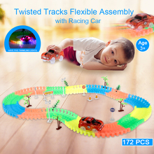172Pcs Flexible Tracks DIY Assembly Toys Neon Glow in Darkness with Decal Tree Fire Cone Street Lamp Traffic Sign Toy Vehicles(China)
