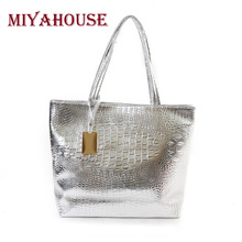 Miyahouse Brand Women Shoulder Bags Silver Gold Crocodile Handbag PU Leather Female Big Casual Tote Bag Ladies Hand Bags Sac
