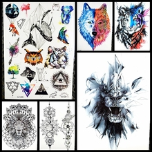 21x15CM Creative Lion Temporary Tattoo Sticker Men Waterproof Body ARm Tattoo Tiger Fake Flash Tattoo Leopard Women Henna Tatoo(China)