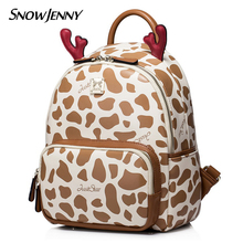 Women Backpack Preppy Style Schoolbag Travel Bag Totes Borsa SnowJenny SJ Brand Braccialini Cartoon Antlers Cows(China)