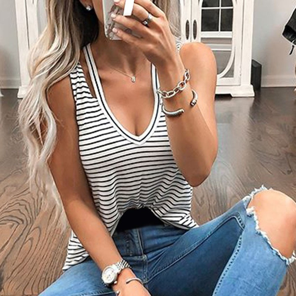 Womail Striped Design Sleeveless V-Neck Fahion Summer Soft Beach Casual Polyester Material Tank Tops Women 19MAR26
