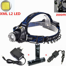 Zoom LED Headlamp 3800LM CREE XM-L2 L2 LED Headlight Rechargeable Head Lamp For Camping+2x18650 battery+AC/Car charger
