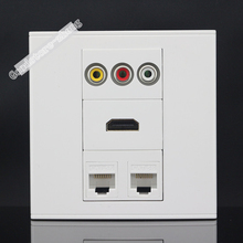 Wall Socket Plate 4 Ports 2 Ports CAT5E Network LAN & HDMI & 3RCA AV Port Panel Faceplate Outlet Connector Adapter Wholesale(China)
