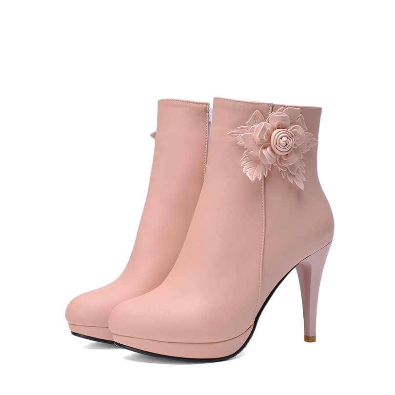 Sexy Ladies Winter Shoes PU Leather Women Ankle Boots Zipper Boots Platform High Heels Pink White Female Shoes size 34-43<br><br>Aliexpress