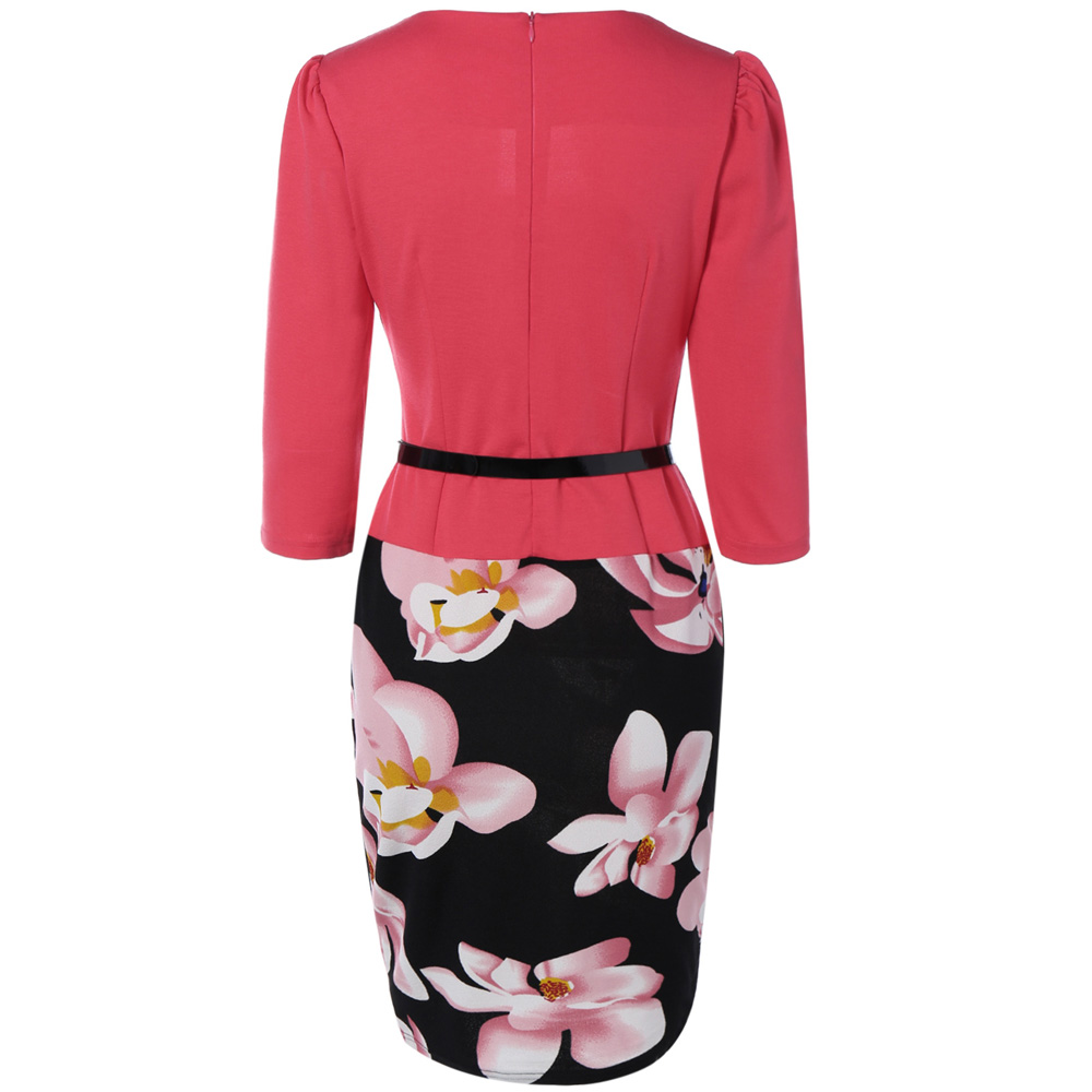 VESTLINDA Pencil Office Dress 5 Colors Plus Size Jacket Look Floral Print Women Vestidos Mujer Jurken Robe Slim Bodycon Dresses 3