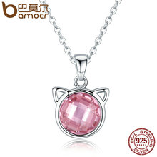 BAMOER Genuine 925 Sterling Silver Cute Cat Pendant Necklaces with Pink Zircon for Women Animal Jewelry SCN083(China)