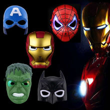 LED Glowing Mask Avengers Marvel Captain America Spiderman Hulk Iron Man Batman Halloween Costume Gift Kid Party Mask 29off