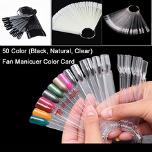 TKGOES 50 False Full Nail Tips Set 3 Colors Available Nail polish Color Show UV Gel Stickers Display Foldable Color Chart Tools(China)
