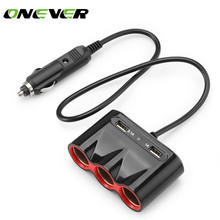 Onever 1 to 3 120W Cigarette Lighter Socket 3.1A Dual USB Car Charger Adapter Support Smart Fast Charging DC 12-24V For iPad(China)