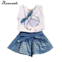 New 2016 brand summer baby girl clothing sets fashion Cotton print shortsleeve T-shirt and skirts girls clothes sport suits(China)