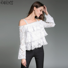 Sexy white lace blouse shirt women Fashion off one shoulder top women blouses Summer hollow out flare sleeve tops 2017