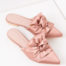 Pointed toe pink satin mules bow tie flats
