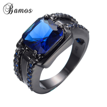 Bamos Male Blue Oval Ring High Quality Fashion Black Gold Filled Jewelry Vintage Wedding Rings For Men 2017 New Year Gifts(China)