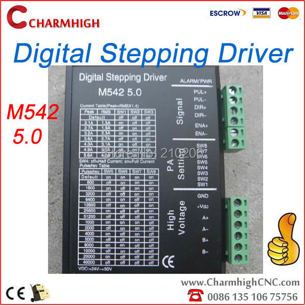 Free shipping, M542 digital stepping driver (5.6 A, 512 segments, 50V) for CNC router cnc engraving machine, highest quality<br>