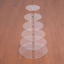 6 Tier Crystal Acrylic Round Cupcake Stand or Round perspex cake Display Tools Suitable for Christmas/Wedding/Birthday Craft(China)