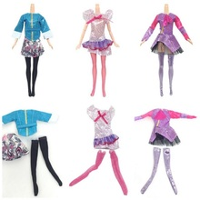 30 Items= 10 Set Beautiful Doll Clothes Pants Or Skirt Fashion Dolls Dress Outfit +10 Pairs Shoes + 10 Hangers For Barbie Doll(China)