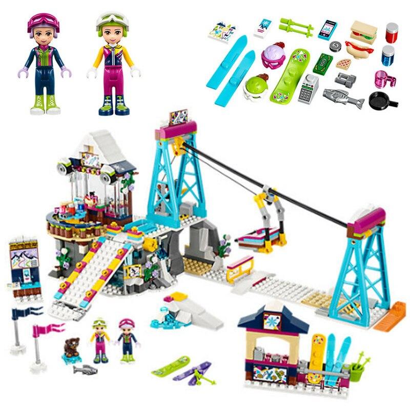 LEPIN-01042-Freunde-LegoINGlys-Schnee-Resort-Ski-Lift-Geschenk-Club-Ski-Urlaub-Skifahren-Abbildung-Bausteinziegelsteine-Spielzeug
