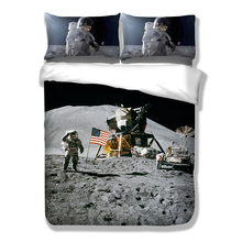 NASA Apollo Moon Bedding Set HD 3D Print Duvet Cover Set Twin Full Queen King AU USA UK Size 3PCS(China)
