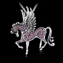 Rope Lobster Clasp Necklace Costume Jewelry 2017 New mix color Crystal Pegasus Fly Horse Pendant Ribbon(China)