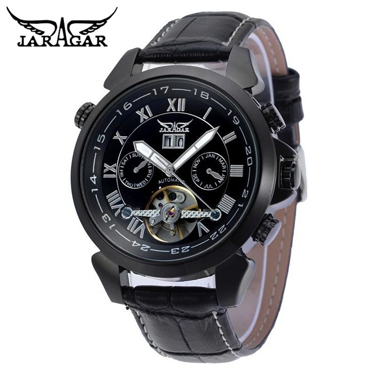 2017 JARAGAR Luxury Mens Mult-functional Tourbillion Day Auto Mechanical Watches Wristwatch Free Ship<br>