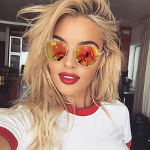 2017 Newest Women Vintage Glasses Color Film Sun Glasses Metal Frame fashion Round Gold Glasses Men Polarized Metal Bending