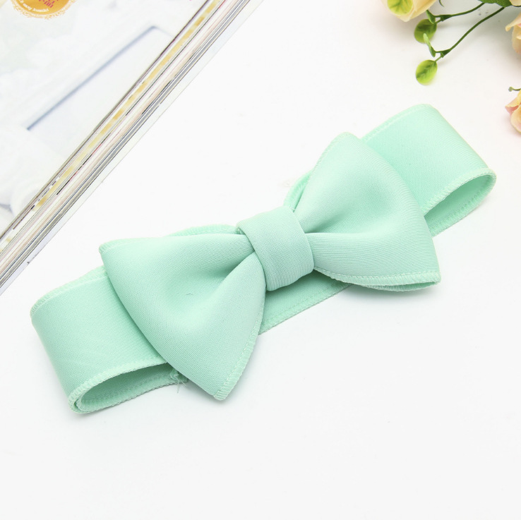 Fashion kids infant child girls head wraps tiara elastic ribbon headband satin big bows headwrap hair bands Accessories For Party (7)