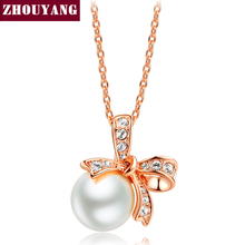 Bowknot Simulated-Pearl Rose Gold Color Fashion Pendant Necklaces Wedding CZ Crystal Wholesale N052 N051