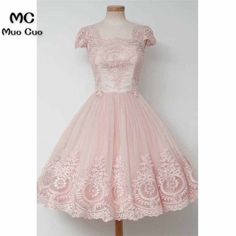 Vintage Knee-Length A-line Pearl Pink Homecoming Dress With Lace