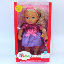 38cm Gold hair blue skirt girl Little Mommy baby doll Fragrant Boneca doll toy figure toy(China)