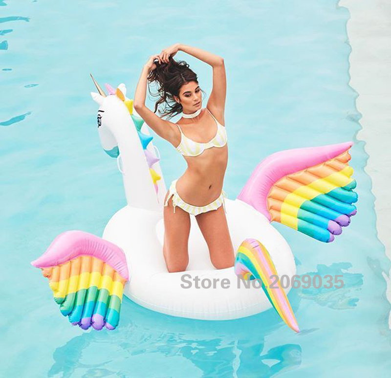 250cm 98inch Giant Rainbow Unicorn 2017 New Design Colorful Pegasus Swimming Broad Pool Float Inflatable Ride-on Floats Piscina <br><br>Aliexpress
