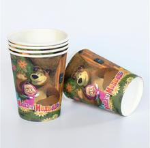 disposable paper cups masha and the bear cartoon theme kids 10pcs/lot  favor birthday party