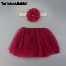 2 Pcs Free Headband Baby Girls Tutu Skirt Kids 4 Layer Fluffy Soft Tulle Pettiskirt Skirt For Girls Children Clothes 8 Colors(China)