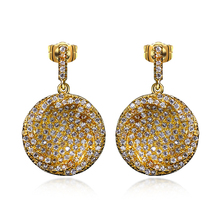 Bargain hot sales Petit Earrings Latest trend Fashion accessories for ladies White Paved Cubic zircon Shimmer Brincos redondos(China)