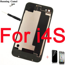 Running Camel Battery Cover For iPhone 4 4S Back Cover Door Rear Panel Plate Glass Housing Replacement+Tool