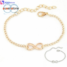 SUSENSTONE 2016 New Fashion Link Chain Women Men Handmade Gift Charm 8 Shape Jewelry Infinity Bracelet Siver and Gold(China)