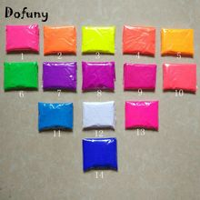 Dofuny Mixed 14 colors, 10g per color Fluorescent Powder Pigment for Paint Cosmetic Soap Neon powder Nail Glitter 140g(China)