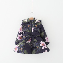 2017 New Brands Fashion Autumn Winter Flowers Hooded Girls Outerwear&Jacket Kids Belt Pretty Girls Zipper Floral Top Down&Parkas