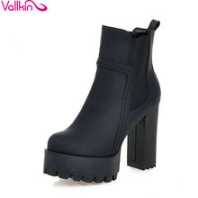 VALLKIN Punk Style Chunky High Heel Shoes Women Elastic Band Ankle Boots Round Toe Platform Ladies Fashion Boot Plus Size 34-43(China)