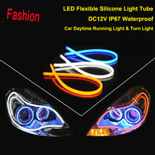 2x 60cm DRL Flexible LED Tube Strip Style Car Headlight Light Amber/White For Toyota RAV4 Land Cruiser Highlander 4Runner Celica