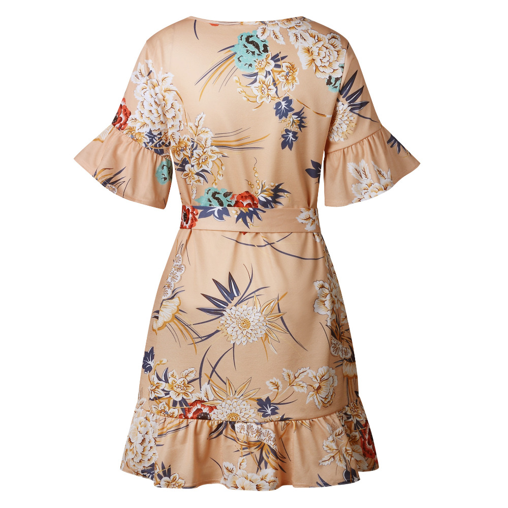 Lossky Summer Women Beach Dress 2018 Bohemian Floral Print Boho Dress O-Neck Short Sleeve Ruffle Mini Chiffon Dress With Belt 4