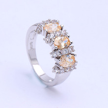 jewellery champagne Czech zircon finger ring  women Princess Cut Wedding Engagement Ring for lady