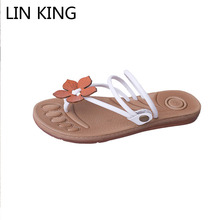 LIN KING Comfortable Slip On flip flops Wedge Shoes Fashion Solid Women Wedges Sandals Fashion Height Increase Woman Summer Shoe