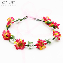 CXADDITIONS gradient Daisy flower Floral Crown alternative bridal Wedding hair wreath red rose ribbon Halo Headpiece Hawaii