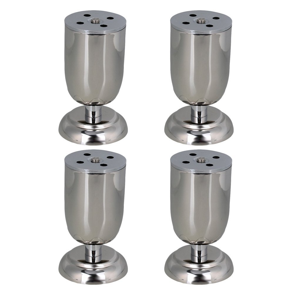 100 mm Height Adjustable Silver Stainless Steel Funiture Legs Cabinet Sofa Table Feet Pack of 4<br>