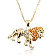 2016 Hot new spring multicolor silver chain lion king necklace collier sautoir long rhinestone crystal necklace women collares