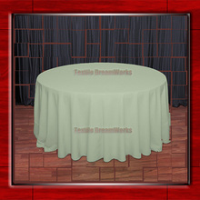 "Hot Sale  132"" R  Celedon Round Table Cloth Polyester Plain Table Cover for Wedding Events &Party Decoration(Supplier)"